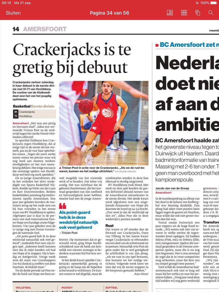 Wedstrijd Hoofddorp - Crackerjacks